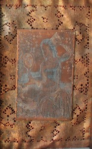 Copper etching of Whore and her mirror